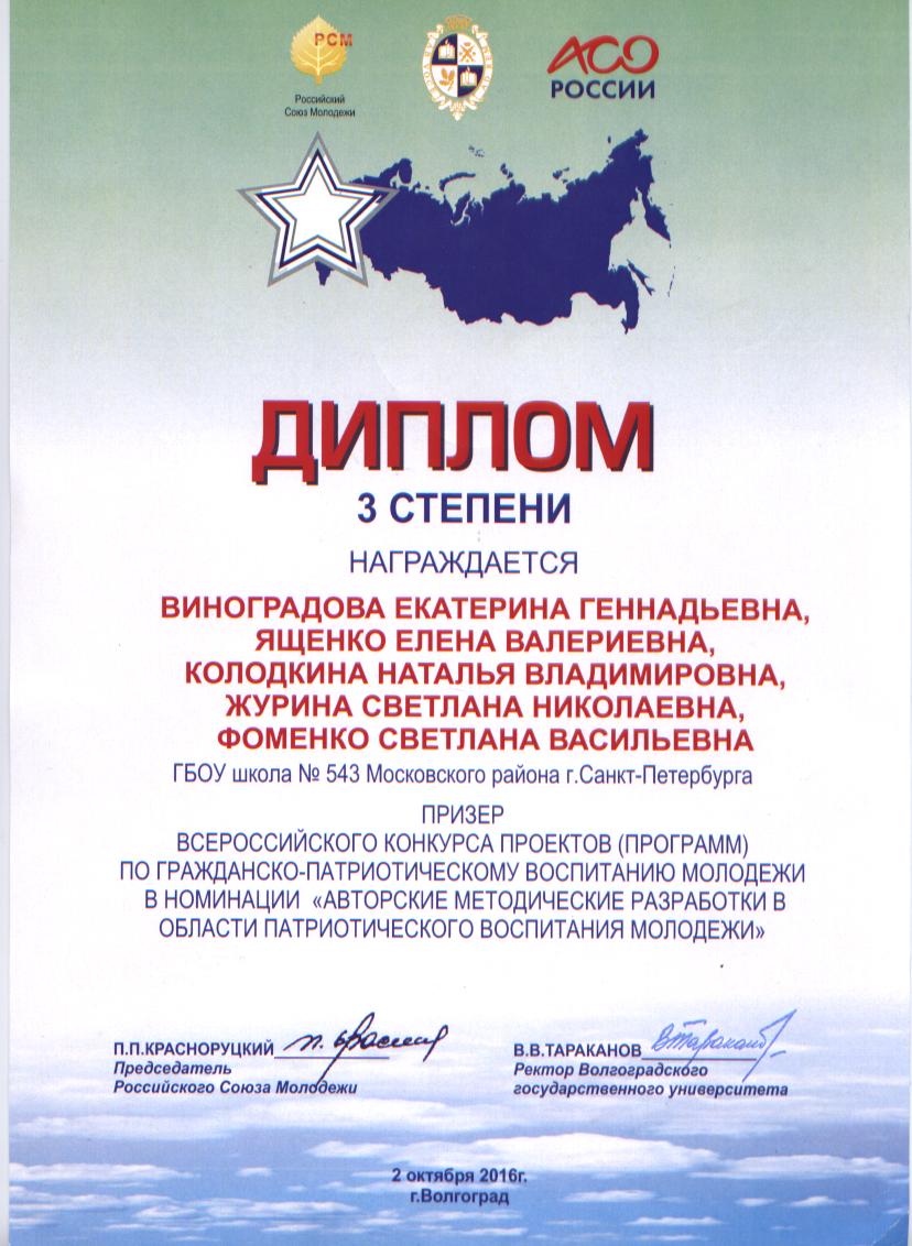 Победители Изображение Диплом 3 степени призер всероссийского конкурса проектов программ по гражданско патриотическому воспитанию